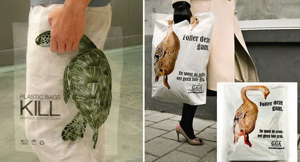 Đây là những chiếc túi có in hình các con vật, chúng nhắc nhở chúng ta rằng mỗi chiếc túi nilon có thể giết chết trái đất của chúng ta